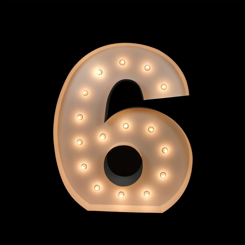 Giant LIght Up Number 6 - Light UP letters for hire