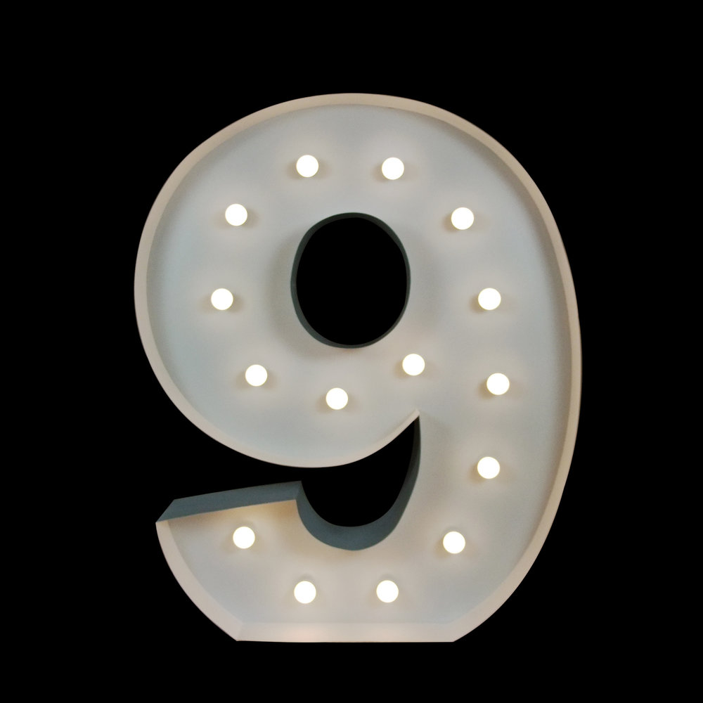 Giant Light Up number 9 - Hire light up Letters