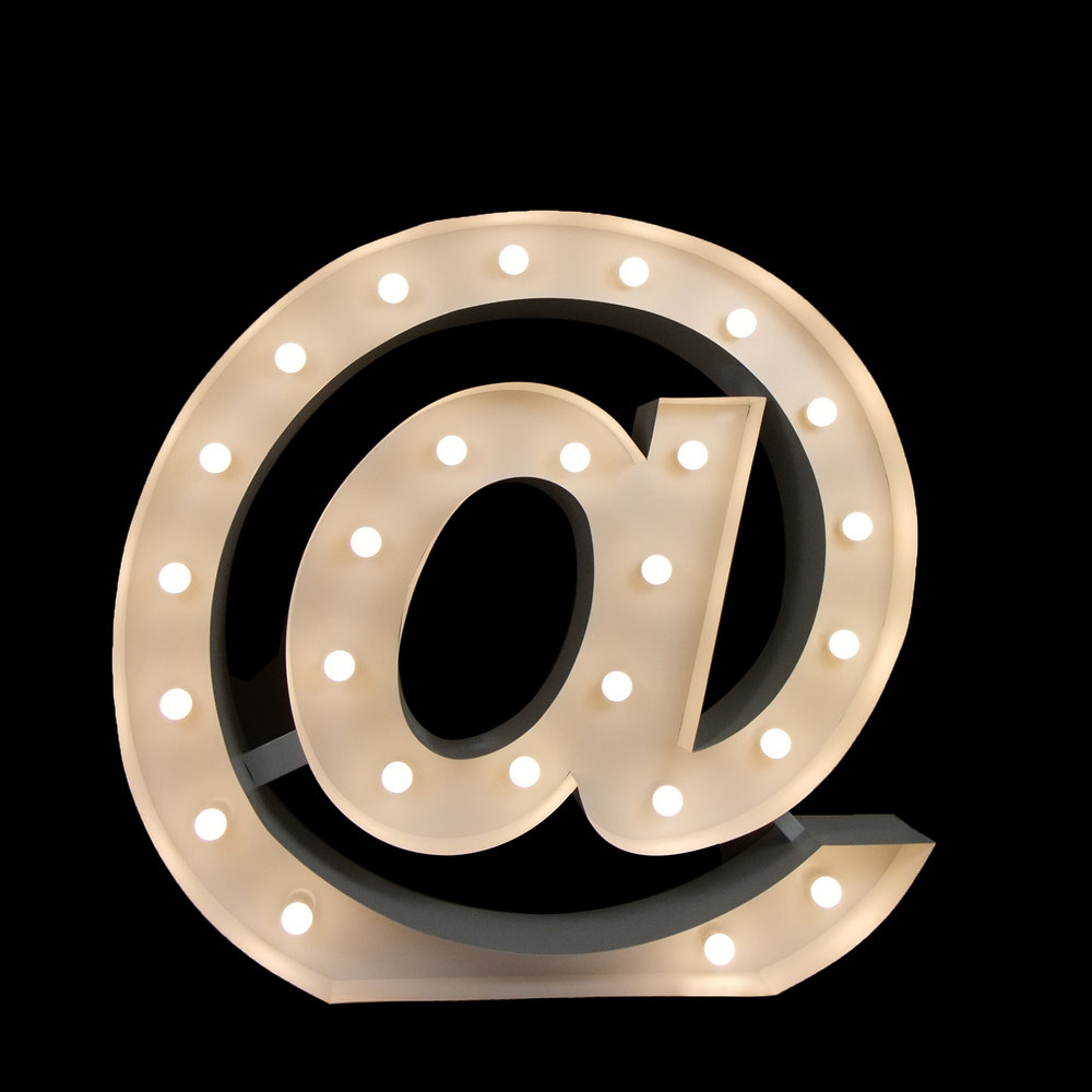 Hire Giant light UP @ symbol - Light UP letters