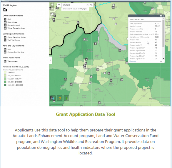 One of three maps created for the Recreation and Conservation Office  SCORP Project.  The maps are used to analyze gaps and evaluate recreation grants. RCO subscribes to a data set which they use both for analysis and to create a set of interactive maps.