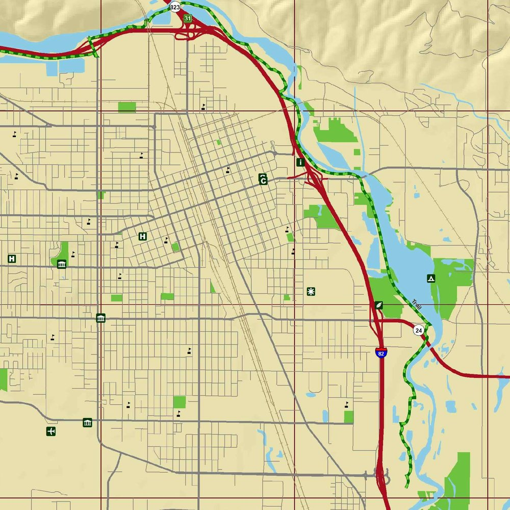 Map of Yakima prepared for the Visitor and Convention Bureau as part of a set for a map of the cities and towns in the area. Labels were provided in a separate layer and their designer incorporated the pieces into the final product.