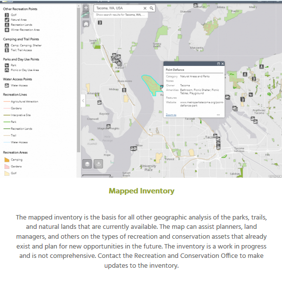 The  Recreation and Conservation Office  uses Washington Hometown's data for a map of recreation resources as well as to evaluation grants and analyze recreation gaps.