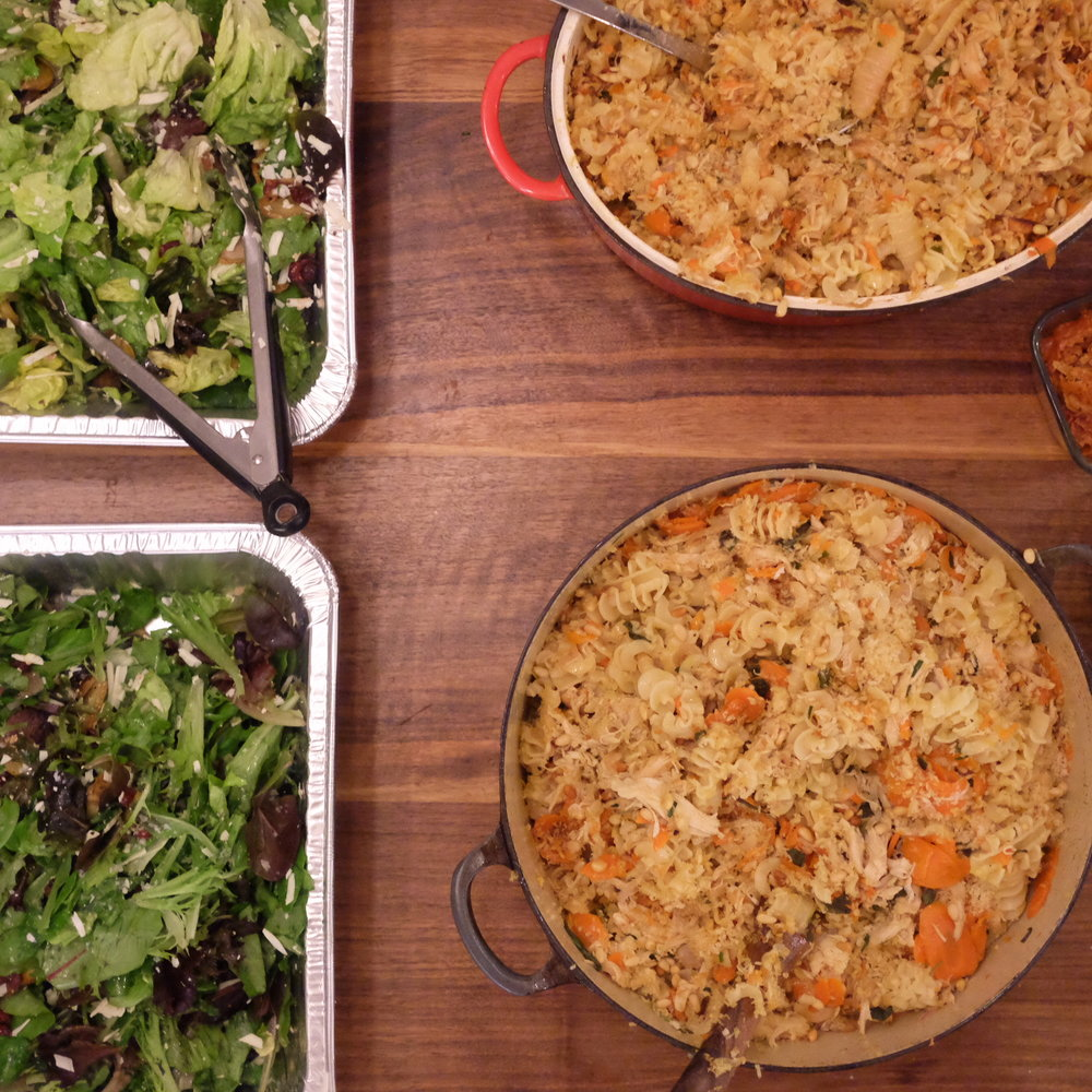 roasted chicken pasta and salad
