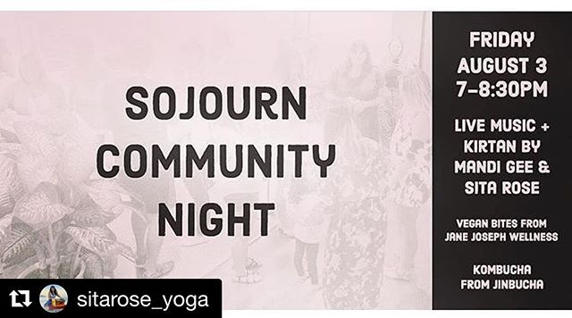 #Repost @sitarose_yoga ・・・ ✨✨✨COMMUNITY EVENT✨✨✨ 💙 Community Night by @sojournsandiego • Music by @mandigee.yoga @sitarose_yoga • Vegan Bites by @janejosephwellness • Kombucha by @jinbucha • Chill with Tribe • Love Donations Accepted 💙  #monat #tribe #magic #friends #family #community #communityevent #life #breath #eats #bites #vegan #kombucha