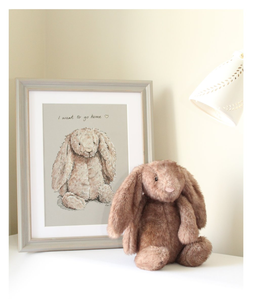 Lost toys - This beautiful bunny was found near the Soggy Rabbit warren in Bristol.Despite our efforts, Bunny hasn't been claimed, so we are giving him/her a home for now.We occasionally have orders to draw lost toys, using old photos or catalogue images.There's no substitute for the feel (and smell!) of a well loved toy, but a picture can sometimes fill the gap.Alternatively: