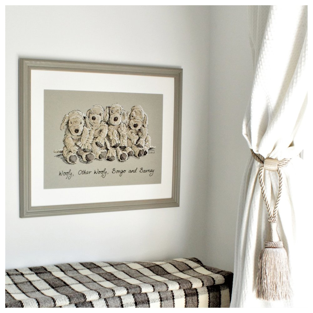 order online - The easy ordering process includes a choice of sizes, and optional framing. Capturing the nostalgic beauty of toys that are loved for a lifetime - we are always happy to discuss personalised embellishments