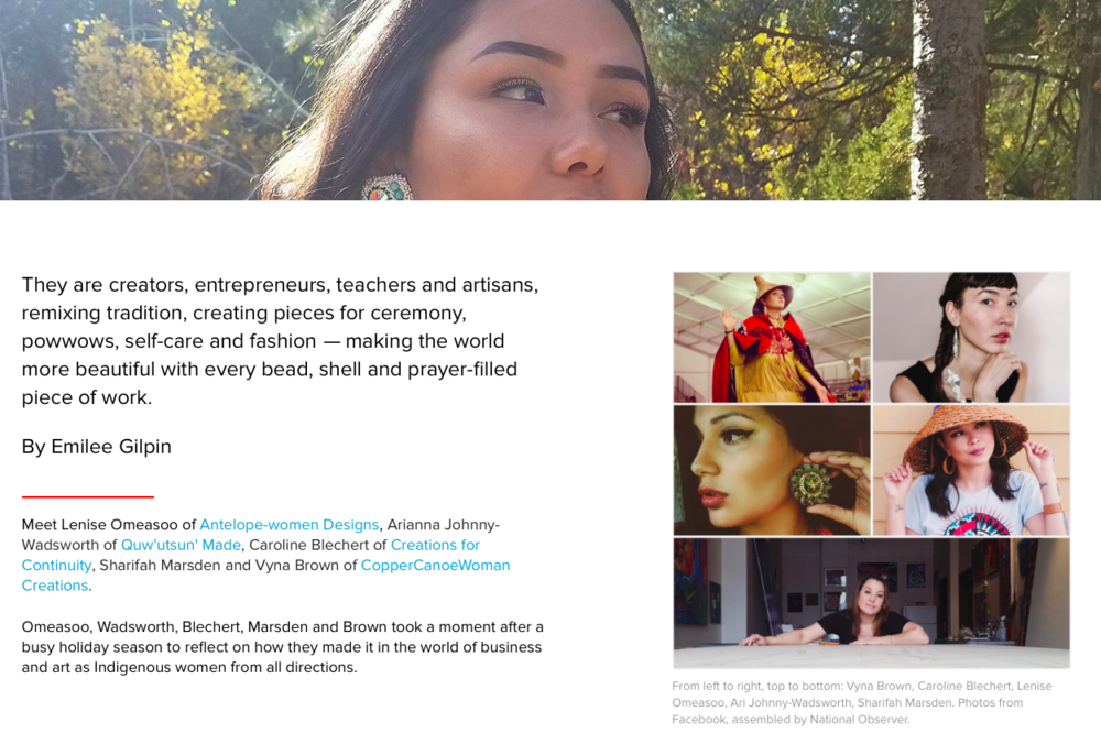 Canada's National Observer article -How 5 Indigenous women are rocking their businesses with beauty -