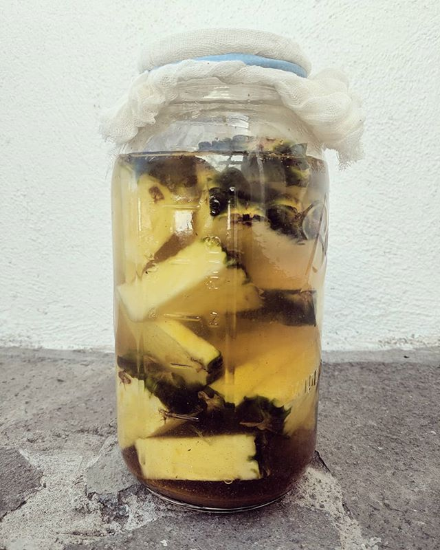 We love experimenting in the kitchen! Up today is Tepache, a Mexican fermented pineapple drink. In 3-4 days, we'll mix this baby with some beer and ice and have ourselves the perfect end-of-summer drink.