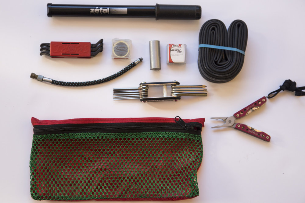 Pliers, Allen wrenches, tire levers, pump and spare tube. That's all you'll need!