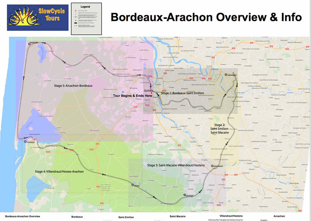 This is the entire Overview Map for our Bordeaux-Arcachon ride. Note that it includes the complete description of the ride with everything you'll need to know. You won't be able to zoom out this far on your tablet or phone. On our iPad Mini, it looks more like this: