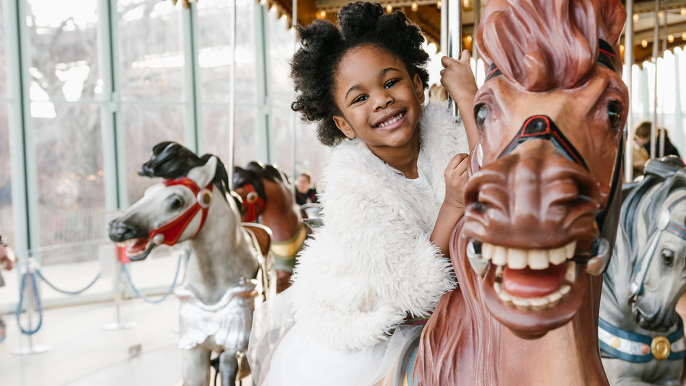 Getting creative with birthday photos is always fun. Being able to take photos on a carousel was so much fun! I would recommend everyone take their kids and get professional photos on a carousel.