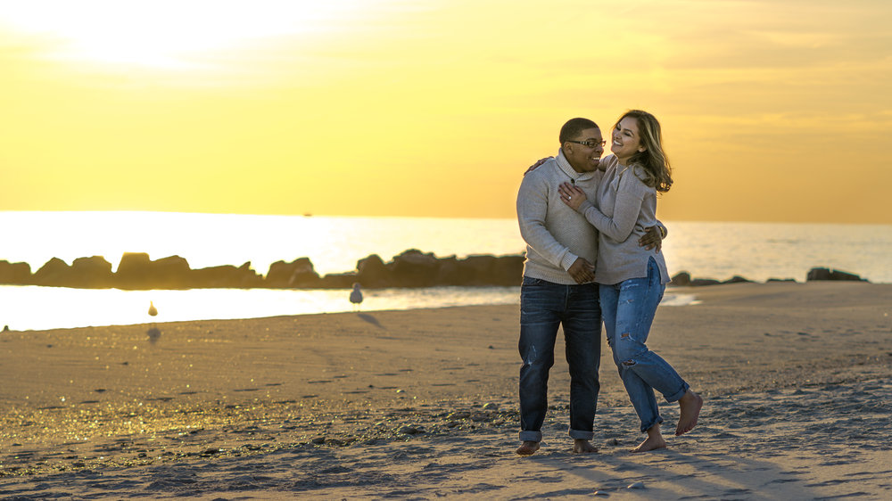 sunset beach engagement photos
