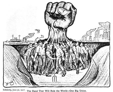 Political cartoon depicting labor unions banding together to end the shady business practices implemented during the second Industrial Revolution