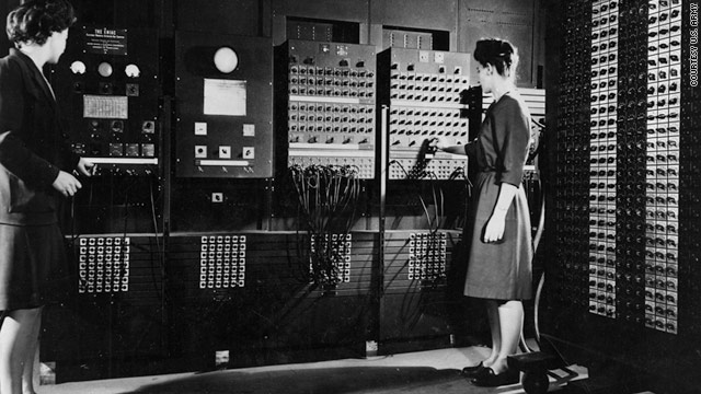 Jean Jennings Bartik (left) and Frances Bilas Spence (right) programming the ENIAC