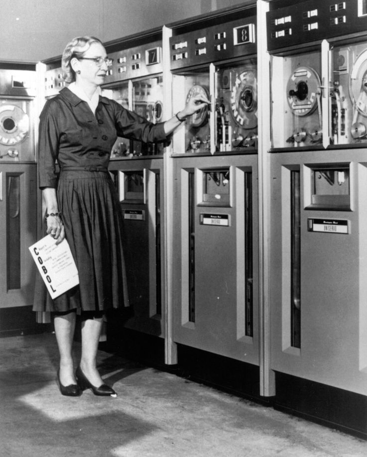 Grace Hopper in a mainframe room, 1950