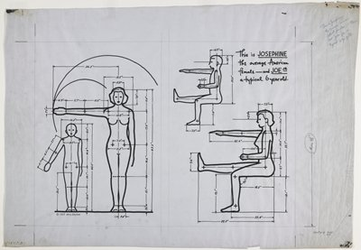 Alvin R. Tilley's drawing of average Americans, later published in The Measure of Man