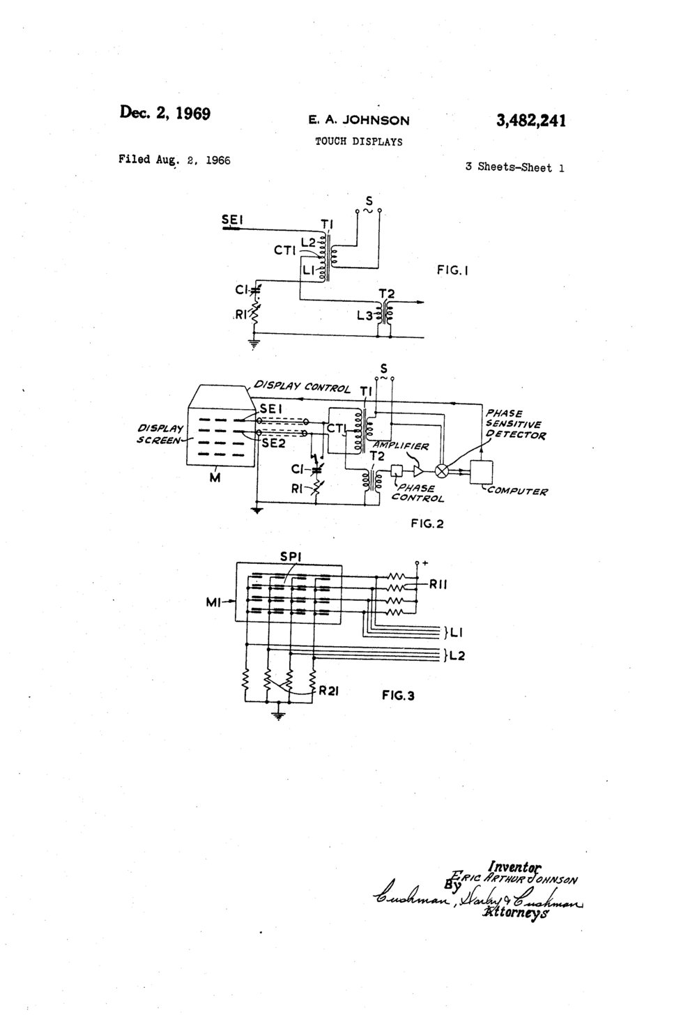 Taken from Johnson's 1969 Patent Document for Touch Displays