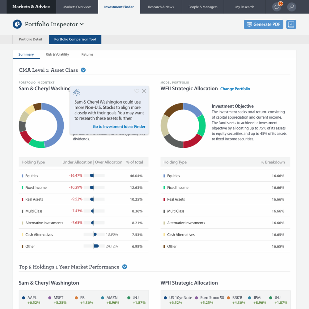 The portfolio comparison tool, which integrates client portfolios and insight