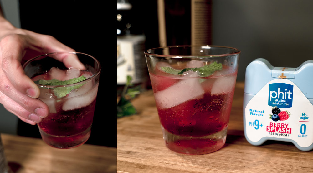 Enjoy a delicious berry vodka cocktail. Add more vodka, club soda, or Phit depending on your preference.