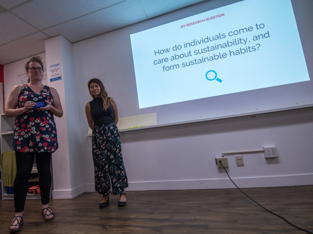 Mentor Hilary Miller introducing mentee Bella Margolles at the closing event for cohort 2018. Photo: Ivan Belko
