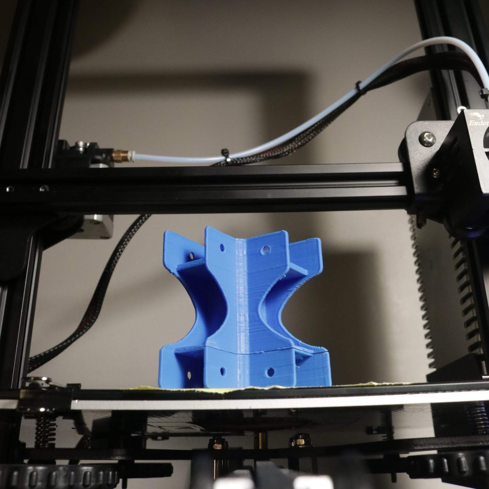 The 3D printed design of clips using a 3D printer.