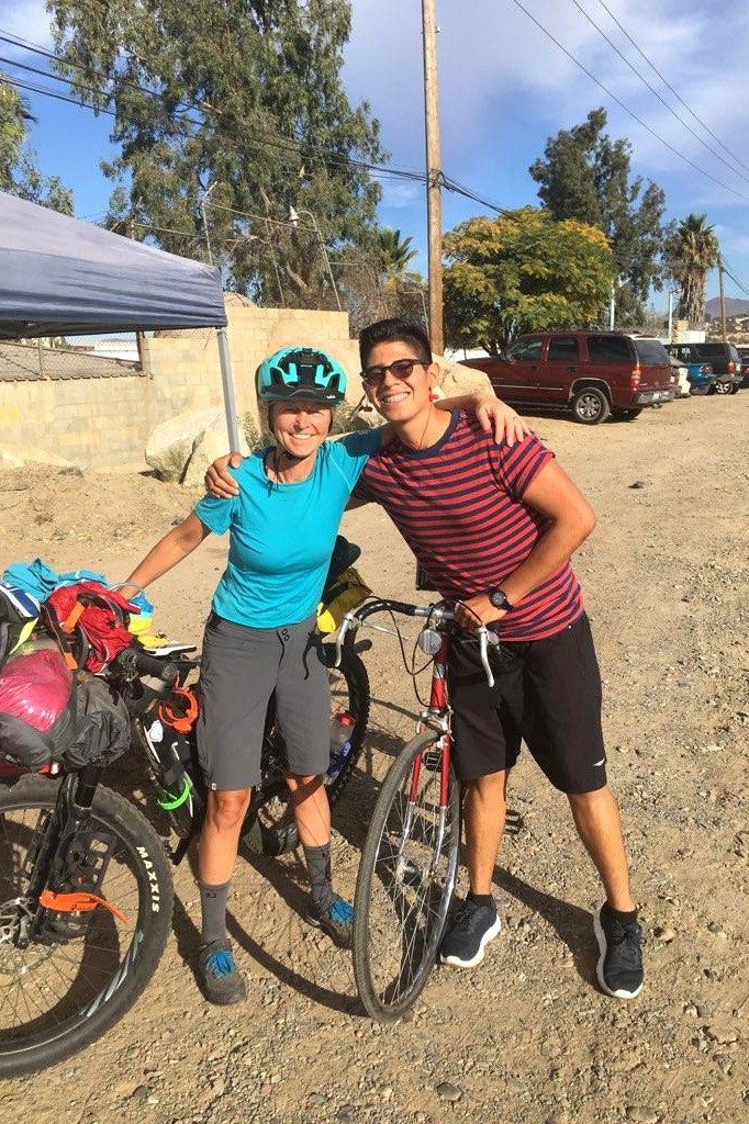 Diego saying goodbye after riding with me several miles