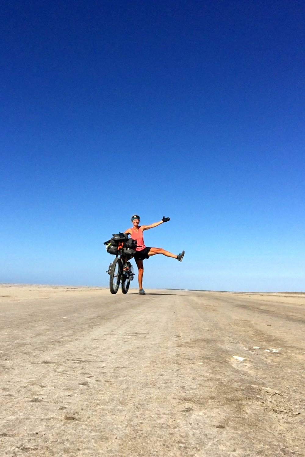 Riding on The salt flats fifty feet below see level