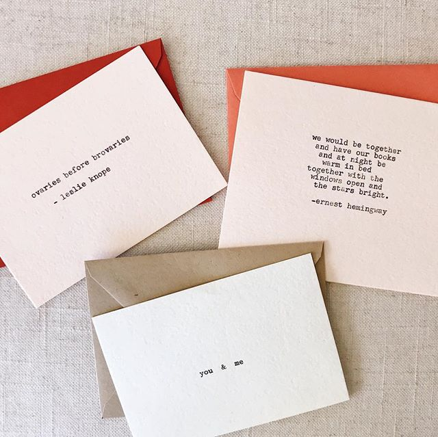 I had so much fun typing these cards out on my vintage Underwood Collegiate typewriter! They're simple and to-the-point with the nostalgia of being hand typed. ⠀⠀⠀⠀⠀⠀⠀⠀⠀ Valentine's + Galentine's Day cards are currently being added to the #etsyshop. (Portland-area folks can also DM to reserve a local pick up.) ✨ // Luxe white + blush cards available with corresponding envelopes. #shoplocalpdx  #pdxflea #pdxnightmarket #shophandmade  #vintagetypewriter #handmadegreetingcards