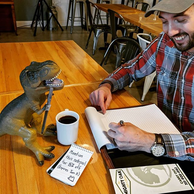 Please welcome our new barista! He's come here through the dino protection program and needs help choosing a new name.  Suggest a name in the comments for a chance to win a $20 eGiftcard! We will take name suggestions till January 6th. Our crew will narrow the suggestions down to 3 names. We will then hold a vote on our IG story and Facebook January 9th. The combined winning vote will win a $20 eGiftcard to The Mighty Oak! Make it fun, make it creative!  #tmocafe #eatlocal #trexthursday #coffeeshop #sandwichshop #dearborn #michigan