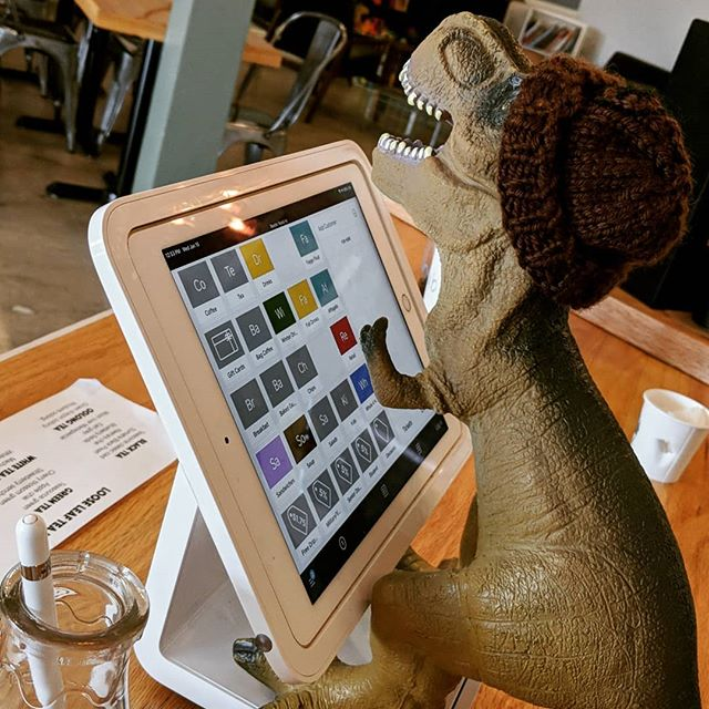 Brewster's learning the register today! #tmocafe #coffeeshop #sandwichshop #eatlocal #dearborn #michigan #baristaBrewster