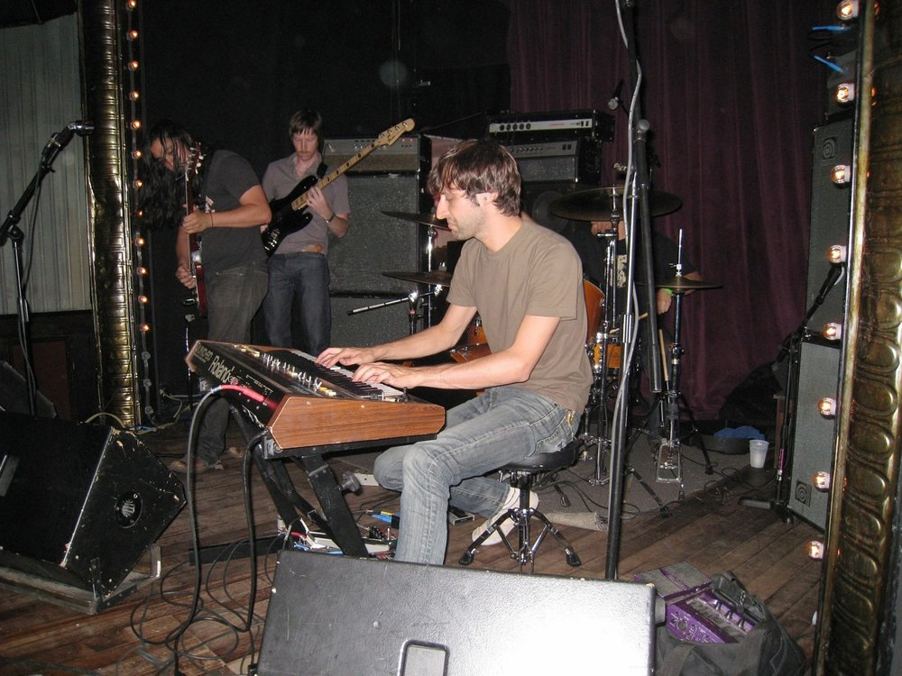 Playing some bass w/Titan at Union Pool, Brooklyn  23 July 2008  Photo by Kristy Greene