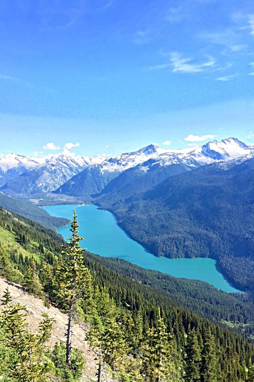Cheakamus Lake aerial from Whistler Mountain hike