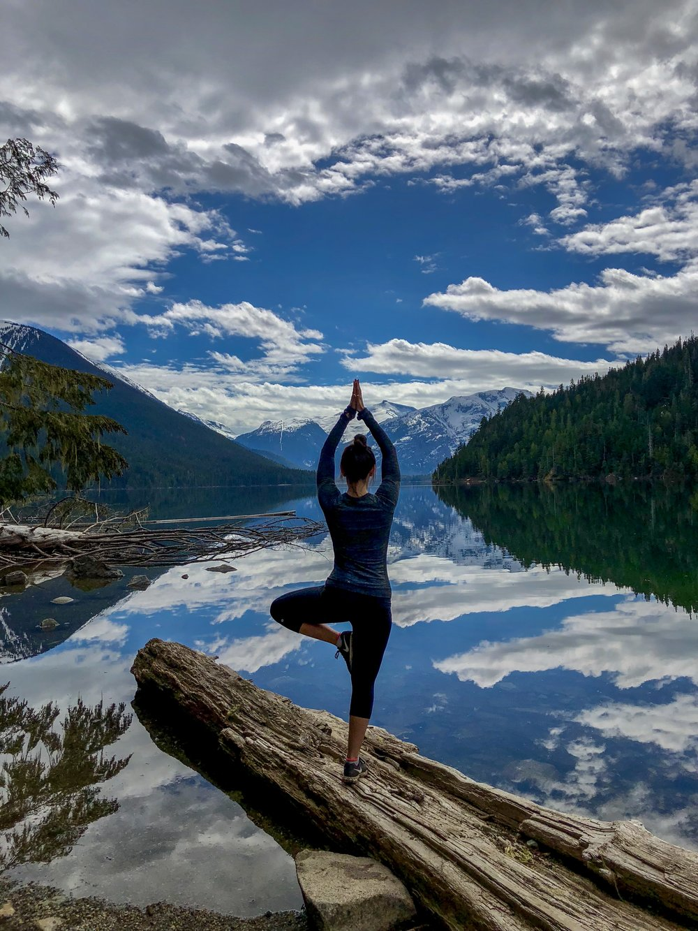 International Yoga Day at Whistler Cheakamus Lake Hike