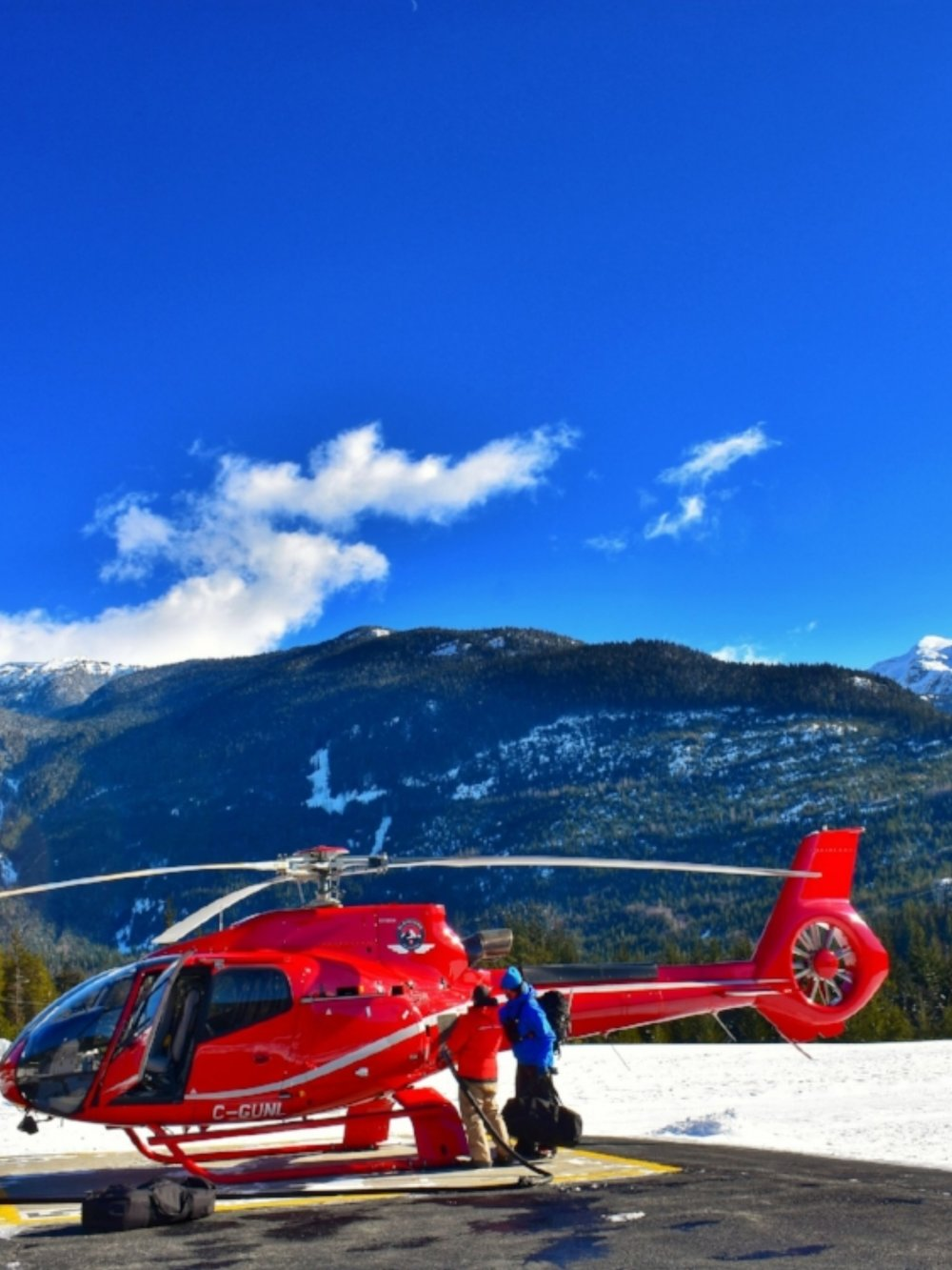 My awaiting helicoptor at the Whistler Heliport
