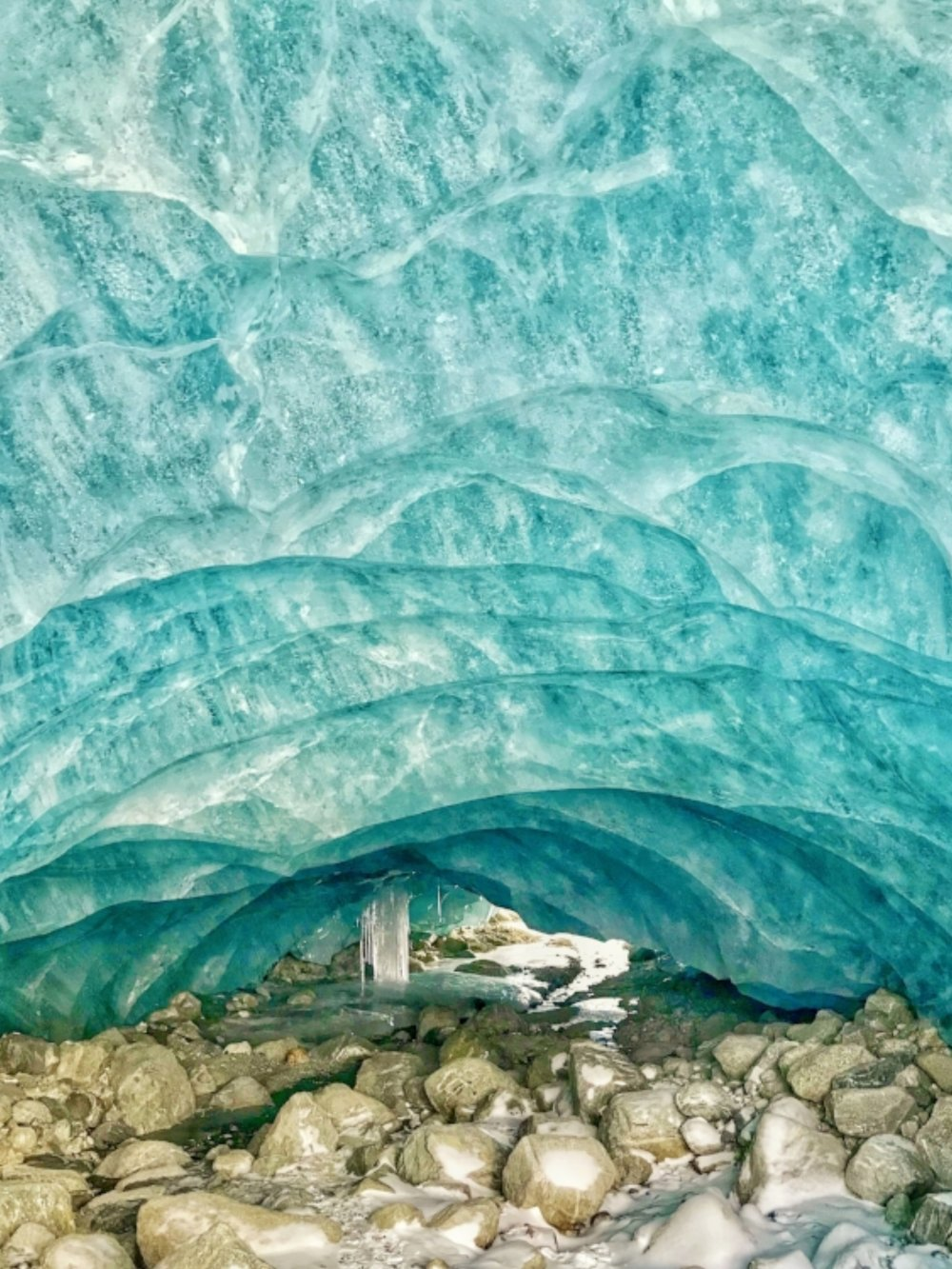 Helicopter ice cave interior