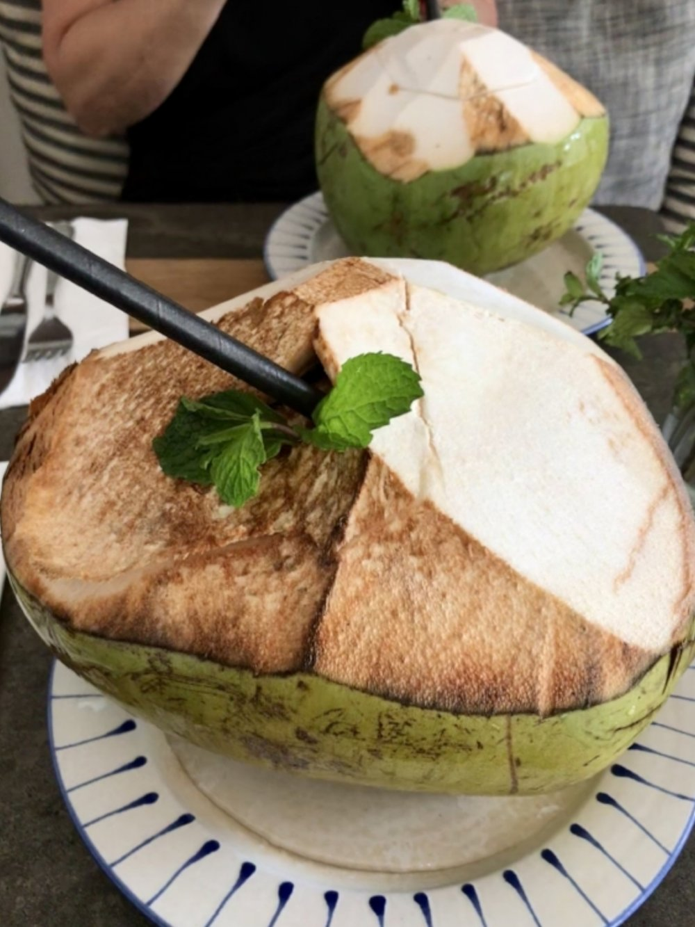 These giant coconuts were the perfect way to quench your thirst after a day of yoga or beach