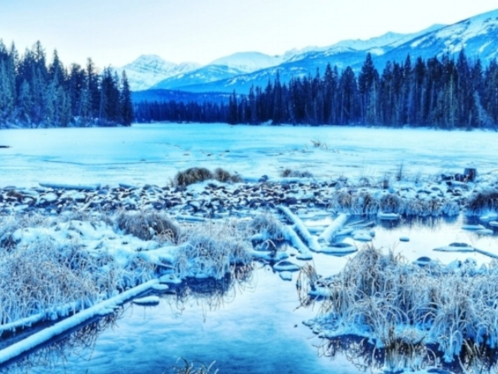 Frozen Lac Beauvert in Jasper National Park