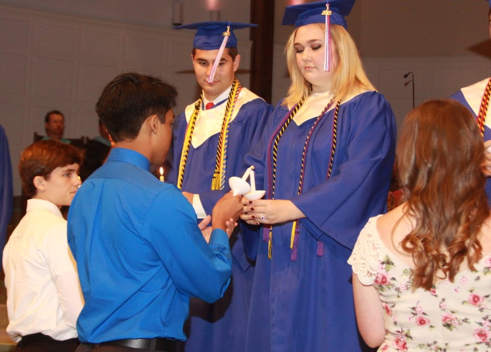 Graduation - Covenant commencement ceremonies celebrate the potential of the future while commemorating the years past. Each graduation ceremony is filled with traditions, biblical advice, and is unique to each class. Our preschool students showcase their accomplishments at Kindergarten graduation. Our 8th grade students give thanks to family and friends who have helped them along the way, and they hear words of advice from a high school senior. High school commencement celebrates the individuality of each class, showcasing their talents and paying tribute to the family friends and teachers who supported them. Our high school graduates then pass the torch on to the next senior class.