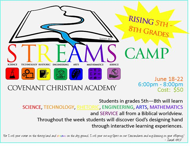 STREAMS camp is coming this month! There's a week for rising 5th-8th graders and a week for rising 1st-4th graders. #covenantcougars