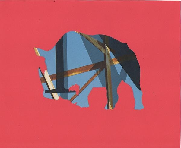 Rhinoceros, 2014. Collage.