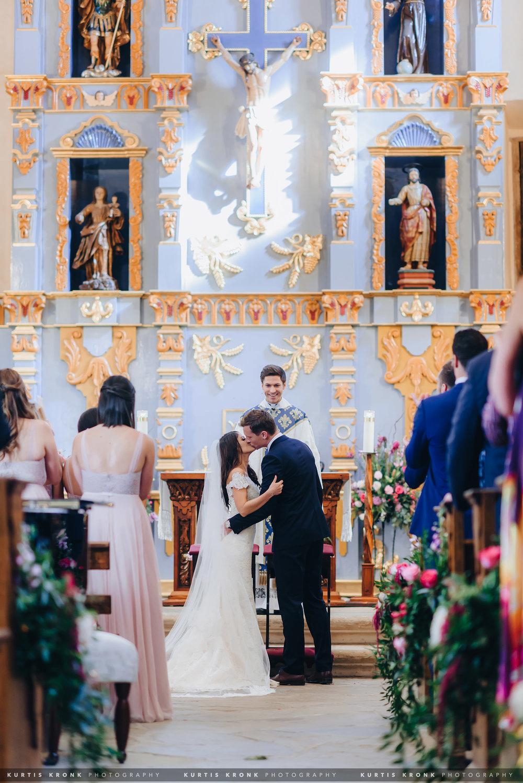 Mission San Jose + Hotel Emma Wedding in San Antonio, TX - Eva & Tommy. Mission San Jose Wedding Ceremony. Wedding First Kiss. Mission San Jose Portraits. San Antonio Wedding Photographer. Texas Wedding Photographer.  Houston Wedding Photographer. Austin Wedding Photographer. Kurtis Kronk Photography.