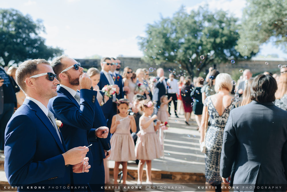 Mission San Jose + Hotel Emma Wedding in San Antonio, TX - Eva & Tommy. Mission San Jose Wedding Ceremony. Wedding Bubbles. Mission San Jose Portraits. San Antonio Wedding Photographer. Texas Wedding Photographer.  Houston Wedding Photographer. Austin Wedding Photographer. Kurtis Kronk Photography.