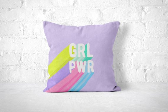 grl pwr throw pillow