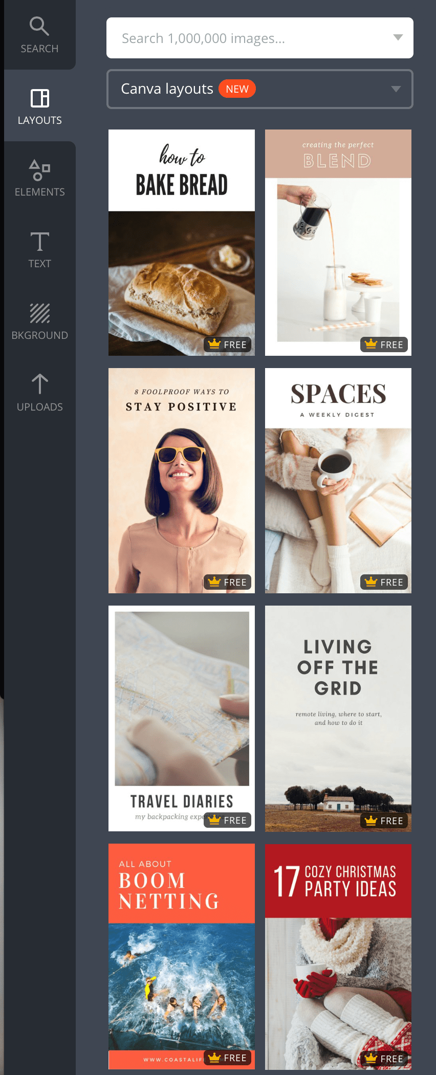 templates and layouts on canva