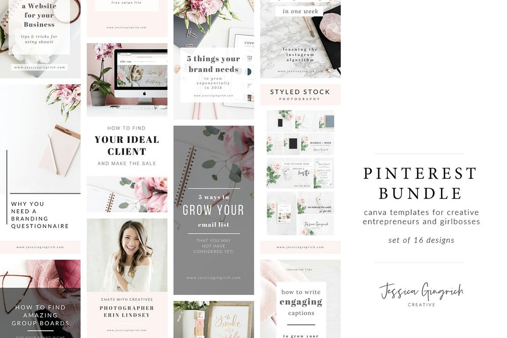 Feminine Pinterest Bundle for Canva