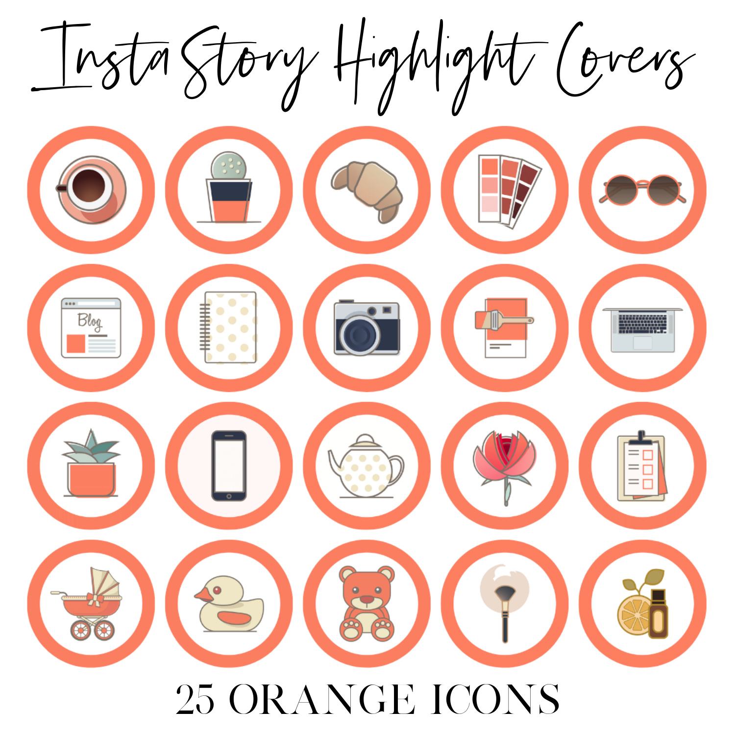 Instagram Story Highlight Covers Orange Icons Girlcrush Collective