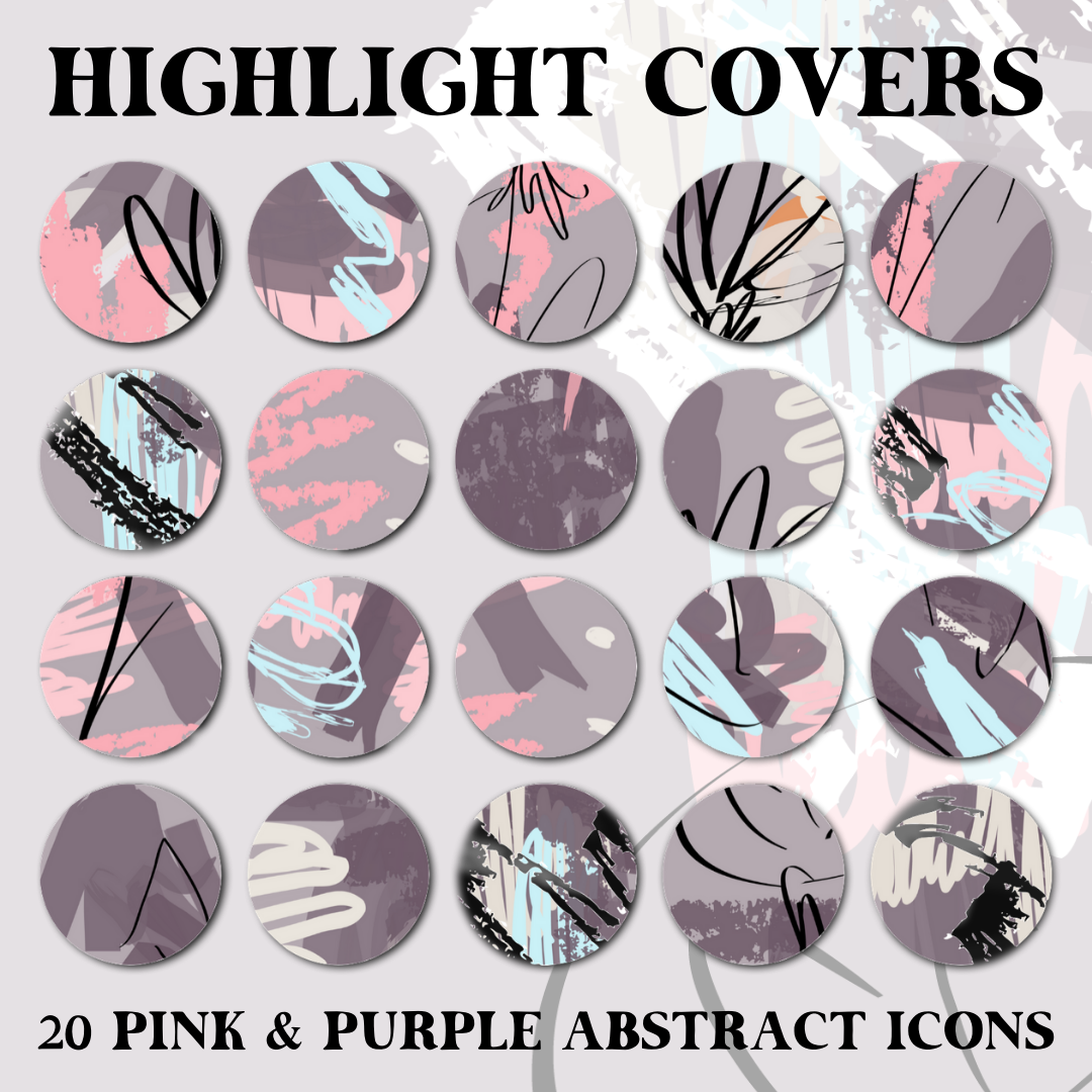 Instagram Story Highlight Covers Pink Purple Abstract Icons Girlcrush Collective