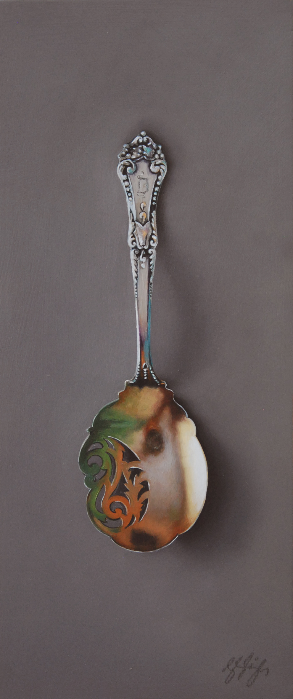"Silver Spoon #107, The Goddess  Oil on panel, 2015. 12x5"" Private collection"