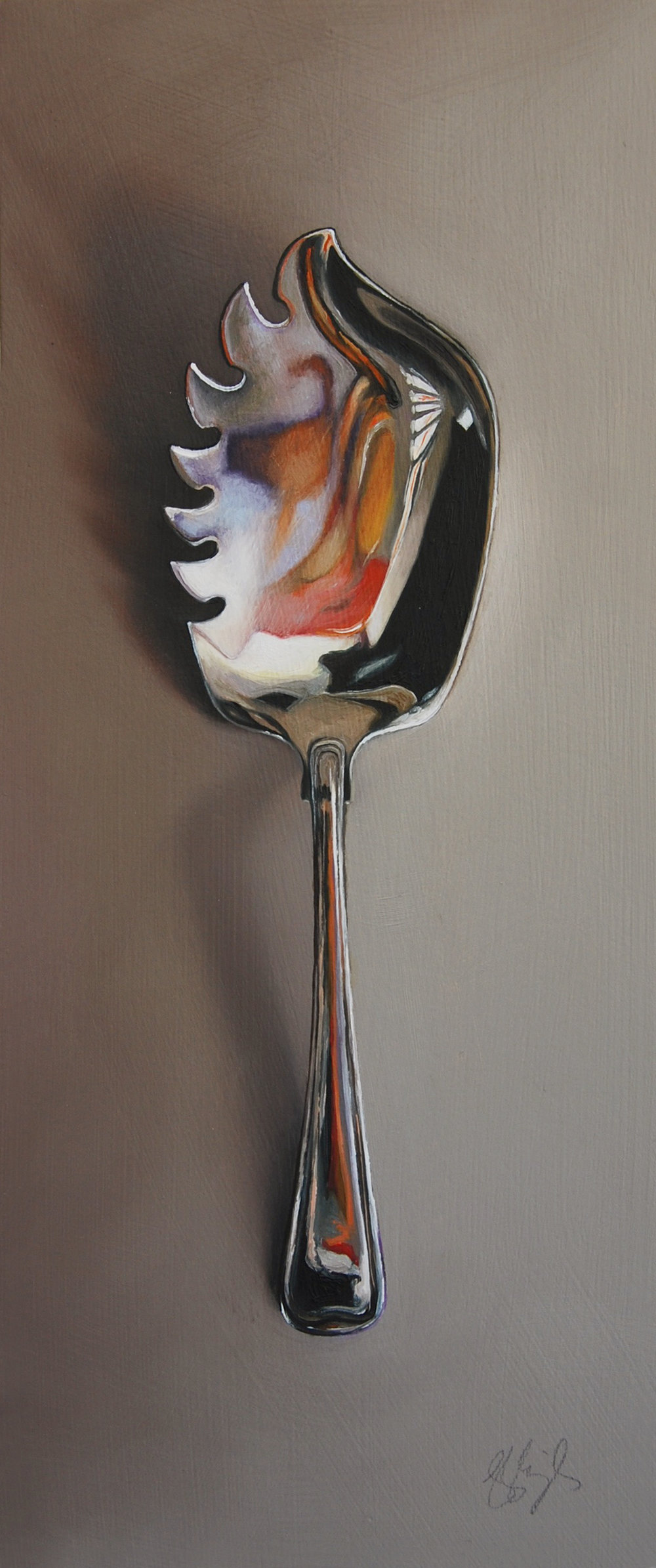 "Silver spoon #143, The Nonconformist  Oil on panel, 2018. 12x5"" Available at  George Billis Gallery,  New York"