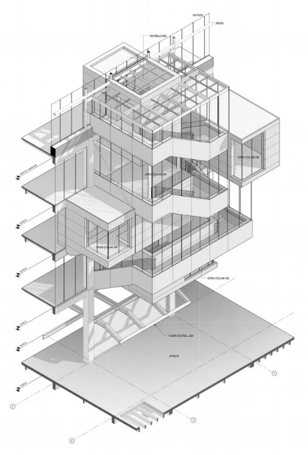 Atrium Stair - Axon Drawing